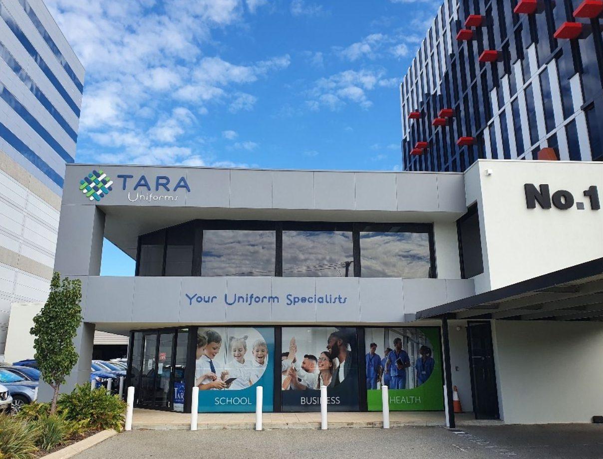 Tara Uniforms store wth sign